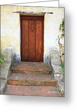 Sacred Heart Door Greeting Card by Carol Groenen