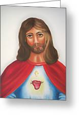 Sacred Heart Of Jesus Greeting Card by Joni McPherson