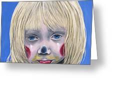 Sad Little Girl Clown Greeting Card by Patty Vicknair