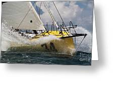 Sailboat Le Pingouin Open 60 Charging Greeting Card by Dustin K Ryan
