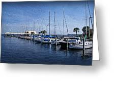 Sailboats Greeting Card by Sandy Keeton