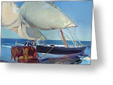 Sailing Boats Greeting Card by Joaquin Sorolla y Bastida