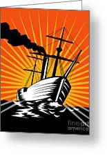 Sailing Ship Retro Woodcut Greeting Card by Aloysius Patrimonio