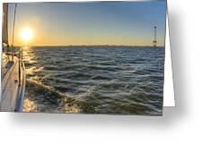 Sailing Sunset Greeting Card by Dustin K Ryan