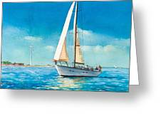 Sailing Through The Gut Greeting Card by Laura Lee Zanghetti