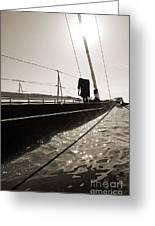 Sailing Yacht Hanuman J Boat Bow Greeting Card by Dustin K Ryan