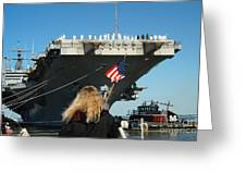 Sailors Aboard Aircraft Carrier Uss Greeting Card by Stocktrek Images