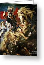 Saint George And The Dragon Greeting Card by Peter Paul Rubens