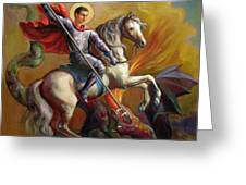 Saint George And The Dragon Greeting Card by Svitozar Nenyuk