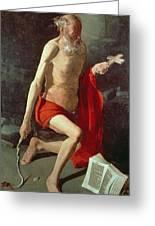 Saint Jerome Greeting Card by Georges de la Tour