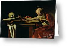 Saint Jerome Writing Greeting Card by Caravaggio