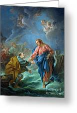 Saint Peter Invited To Walk On The Water Greeting Card by Francois Boucher