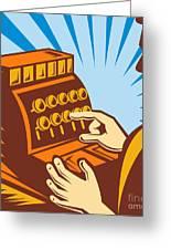 Sales Clerk Or Cashier Greeting Card by Aloysius Patrimonio