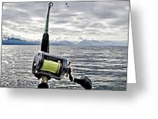 Salmon Fishing Rod Greeting Card by Darcy Michaelchuk