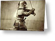 Samurai with raised sword Greeting Card by F Beato