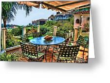 San Clemente Estate Patio Greeting Card by Kathy Tarochione