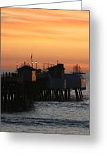 San Clemente Pier Sunset Greeting Card by Brad Scott