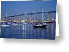 San Diego Bay At Nightfall Greeting Card by Margaret Pitcher