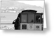 San Francisco Cable Car With Alcatraz Greeting Card by Shane Kelly