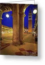 San Marco At Night Greeting Card by Inge Johnsson