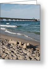 Sand Castles And Piers Greeting Card by Rob Hans