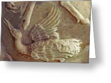 Sandhill Crane Detail From Bear Cub Bowl Original Clay Greeting Card by Dawn Senior-Trask