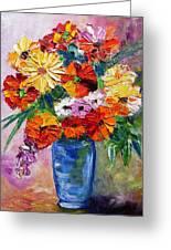 Sandy's Flowers Greeting Card by Mary Jo  Zorad