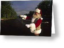 Santa Claus Fly Fishing Greeting Card by Michael Melford