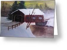 Santa Clause Sleigh Route Covered Bridge 1 Greeting Card by Jason Layne