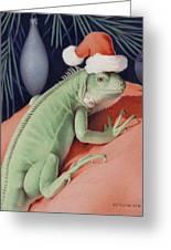 Santa Claws - Bob The Lizard Greeting Card by Amy S Turner