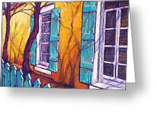 Santa Fe Shutters Greeting Card by Candy Mayer
