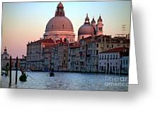 Santa Maria Della Salute On Grand Canal In Venice In Evening Light Greeting Card by Michael Henderson
