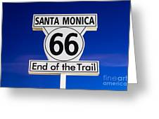 Santa Monica Route 66 Sign Greeting Card by Paul Velgos