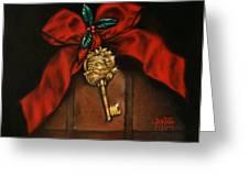 Santa's Key Greeting Card by Debi Frueh