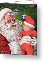 Santas Little Helper Greeting Card by Richard De Wolfe