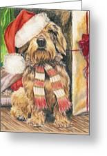 Santas Little Yelper Greeting Card by Barbara Keith