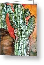Saquaros Greeting Card by Mindy Newman