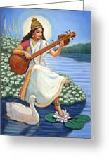 Sarasvati Greeting Card by Sue Halstenberg