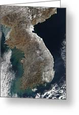 Satellite View Of Snowfall Along South Greeting Card by Stocktrek Images