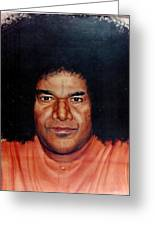 Sathya Sai Baba- Full Face Greeting Card by Anne Provost