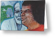 Sathya Sai Baba- Shirdi Sai Baba Greeting Card by Anne Provost