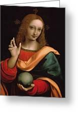 Saviour Of The World Greeting Card by Giovanni Pedrini Giampietrino