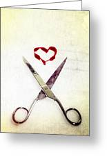 Scissors And Heart Greeting Card by Joana Kruse