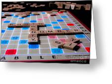 Scrabble Greeting Card by Valerie Morrison