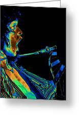 Screaming Cosmic Guitar Greeting Card by Ben Upham