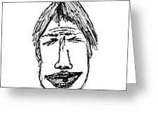 Scribble Line Face Greeting Card by Karl Addison