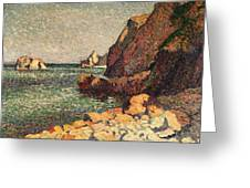 Sea And Rocks At Agay Greeting Card by Maximilien Luce