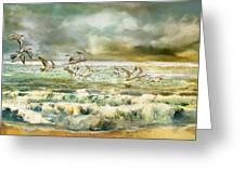 Seagulls At Sea Greeting Card by Anne Weirich