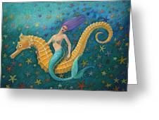 Seahorse Mermaid Greeting Card by Sue Halstenberg