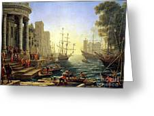 Seaport With The Embarkation Of Saint Ursula  Greeting Card by Claude Lorrain